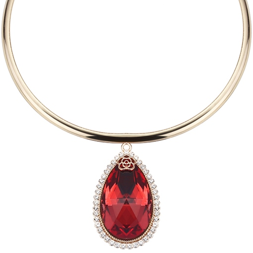 Ruby Pendant Round Metal Necklace