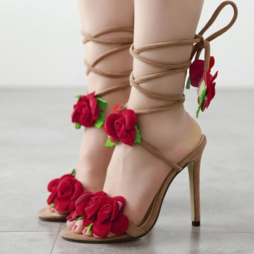 Lace-Up Appliques Cross Strap Floral Women's Sandals