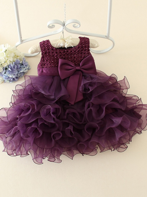 Bowknot Tiered Zipper-Up Flower Girl Dress