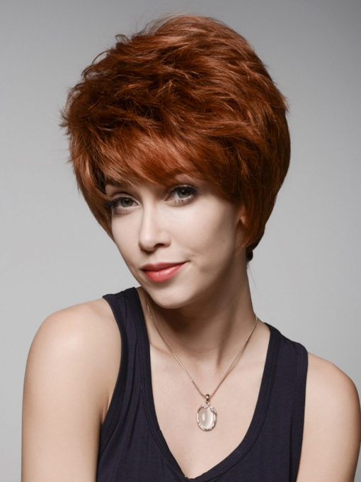 Layered Short Beautiful Human Hair Capless Wig 6 Inches