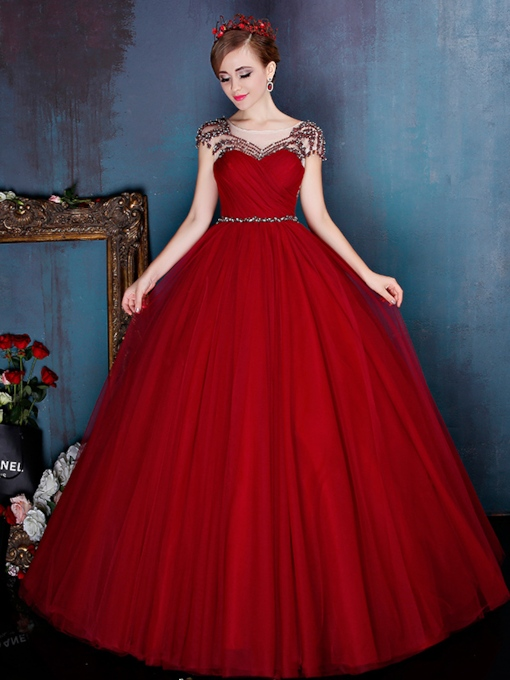 Ball Gown Beading Pearls Red Quinceanera Dress