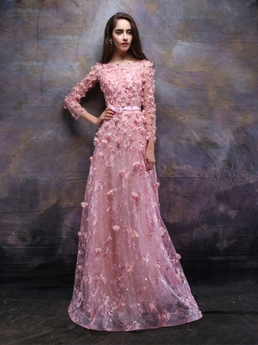 Appliques Flowers Beading Bateau Lace Evening Dress