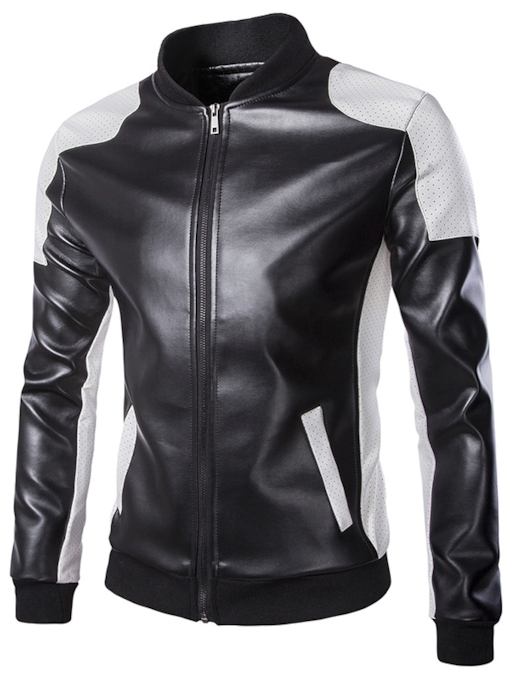 Men's Contrast Motor Jacket with Front Zipper