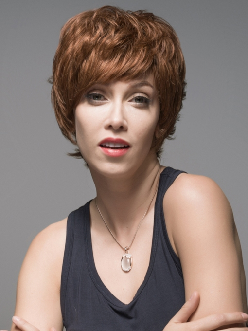 Layered Short Charming #30 Human Hair Capless Wig 6 Inches