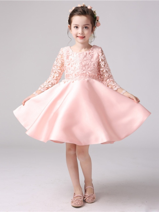 Long Sleeve Bowknot Lace Flower Girl Dress