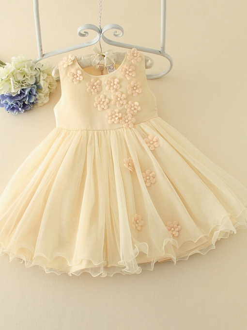 Scoop Neck Little Flowers A-Line Flower Girl Dress