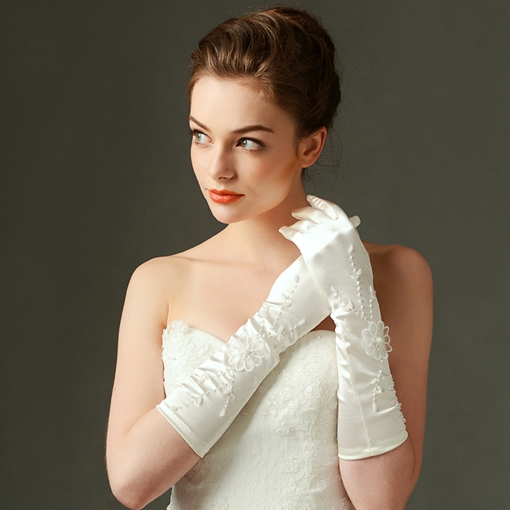 Flowers Satin Long Wedding Gloves