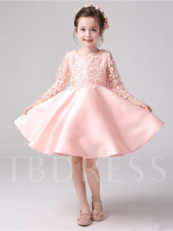 Long Sleeves Scoop Neck Bowknot A-Line Flower Girl Dress