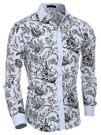 Men's Floral Printed Shirt with Solid Color Collar