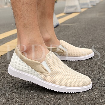 Round Toe Flat Heel Color Block Men's Loafers