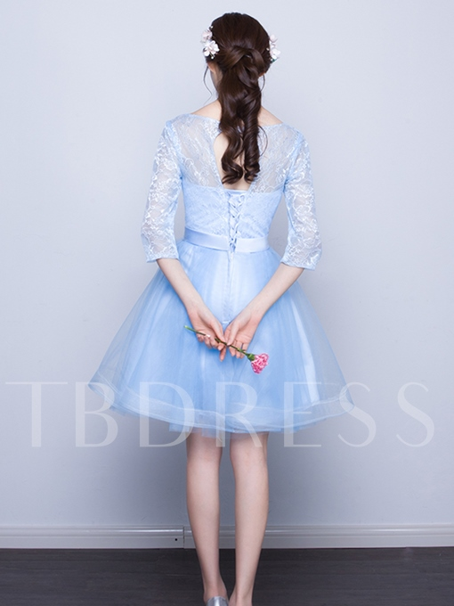 A-Line Scoop 3/4 Length Sleeves Bowknot Lace Homecoming Dress