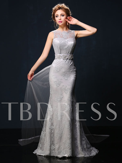 Mermaid Bateau Bowknot Rhinestone Lace Evening Dress
