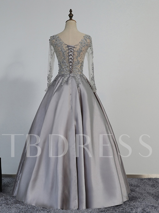 A-Line Beaded V-Neck Appliques Floor-Length Evening Dress