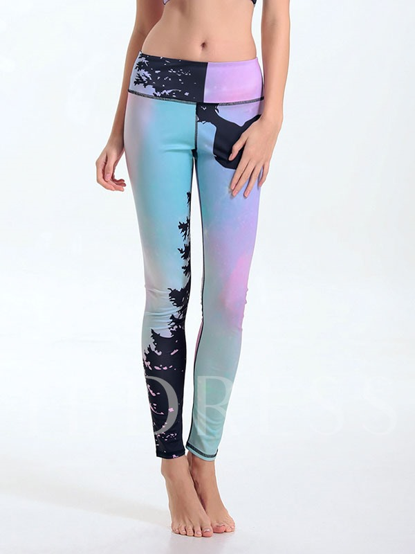 Spandex Pink Tree Printed Breathable Fast Drying Women's Sports Leggings