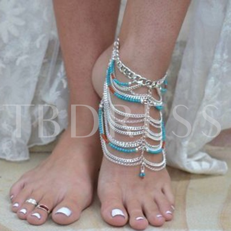 Turquoise Beads Multilayer Tassel Anklet