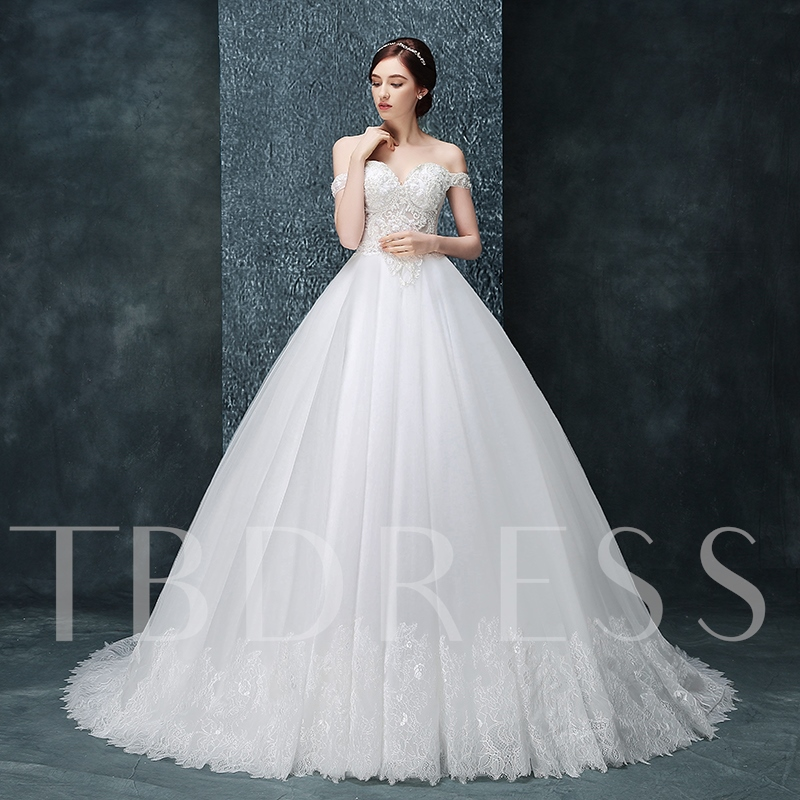 Off-The-Shoulder Sweetheart Ball Gown Long Sleeves Wedding Dress