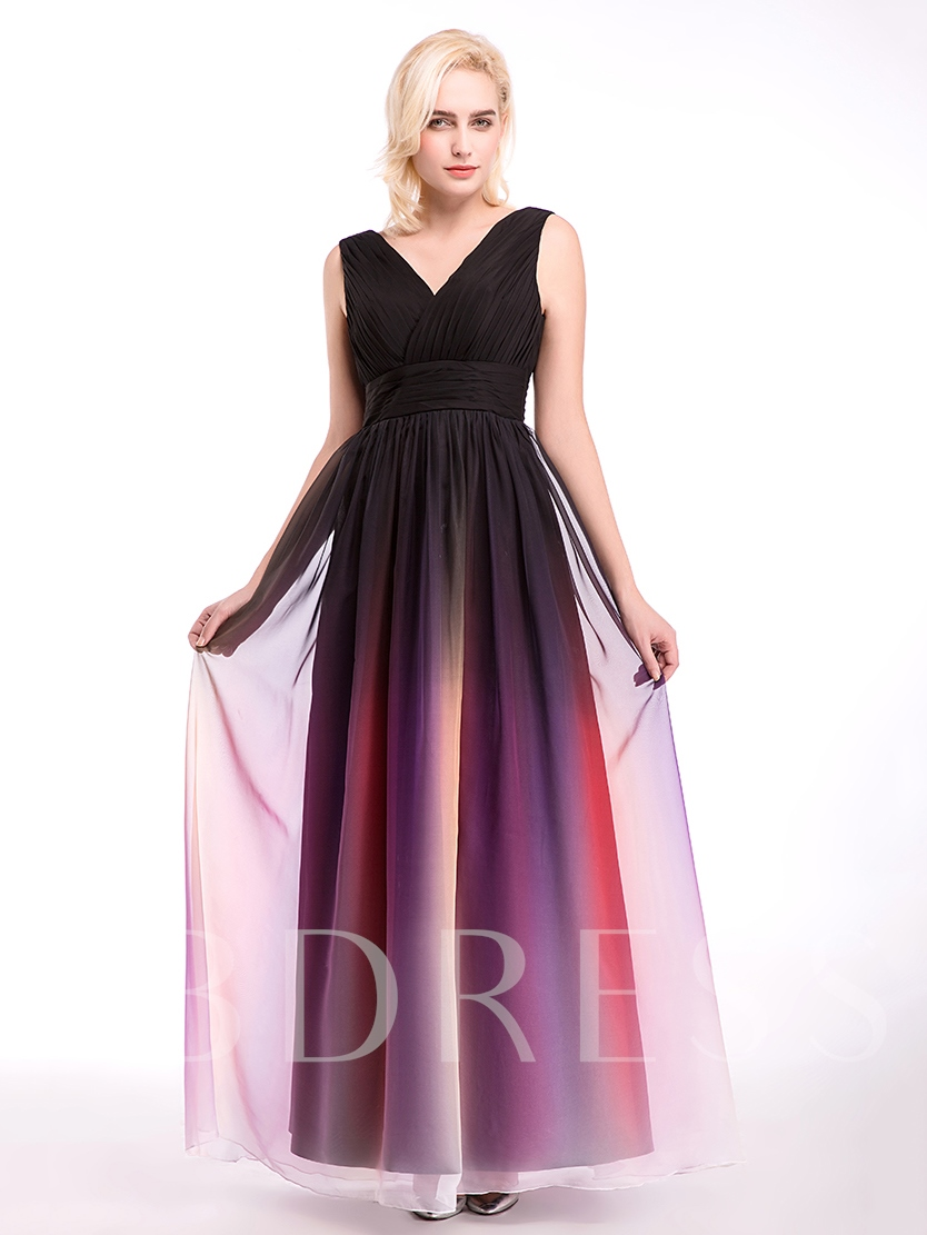 V-Neck Ruched Lace-Up A-Line Bridesmaid Dress