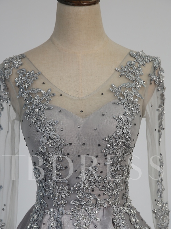 A-Line Beaded V-Neck Appliques Evening Dress