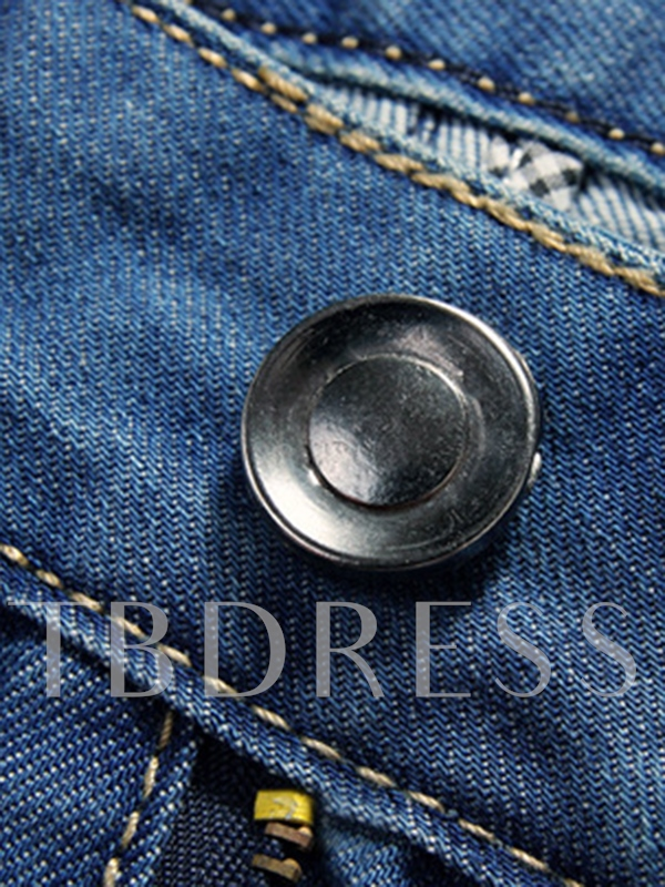 Men's Denim Pants with Metal Button
