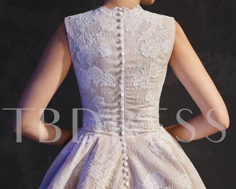 A-Line Scoop Lace Asymmetry Sweep Train Evening Dress