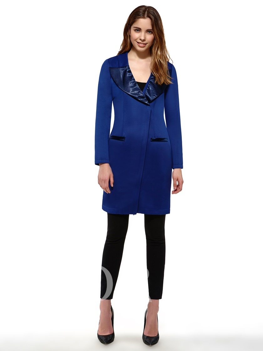 Lapel Zippered Long Sleeve Women's Pencil Dress