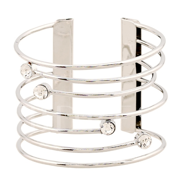 Wire Diamante Alloy Hollow Out Bracelet