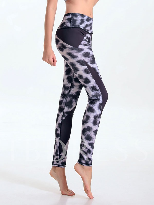 Polyester Leopard Printed Casual Springy Women's Sports Pants