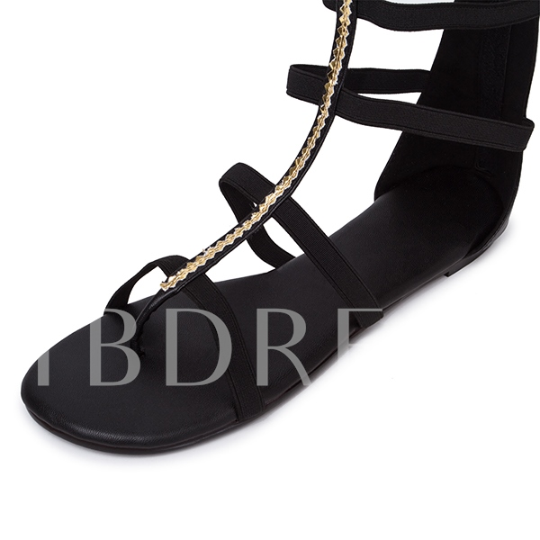 Open Toe Zipper Plain Sequins Women's Sandals