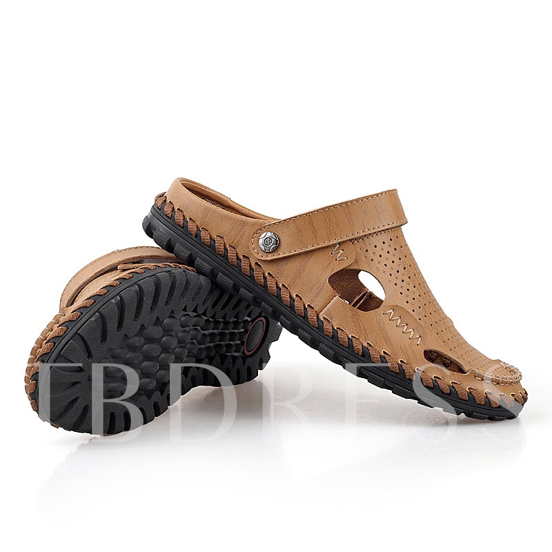 Round Toe Flat Heel Slip-On Hollow Men's Sandals