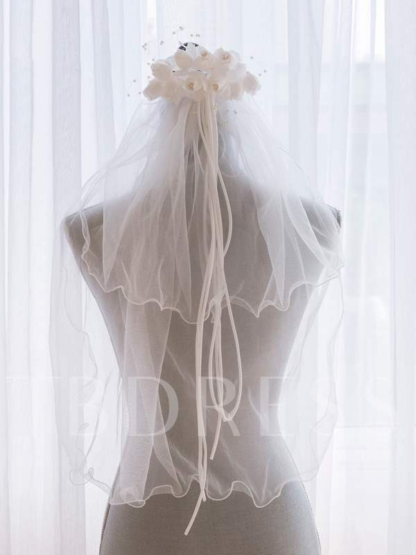 Elbow Wedding Veil With Flower