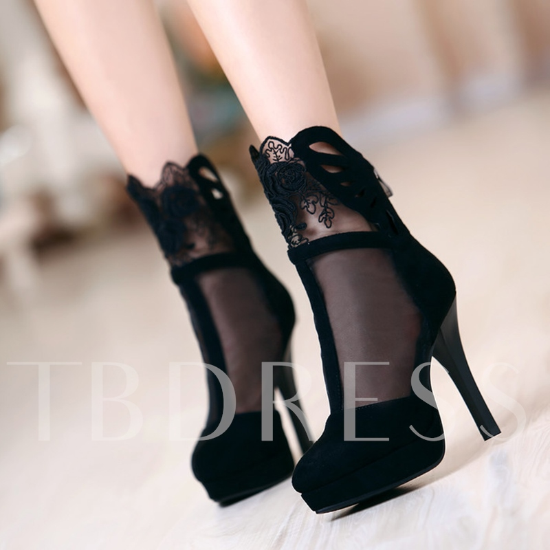 Pointed Toe Slip-On Lace Platform Patchwork Mesh Women's Sandals