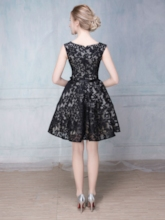 A-Line Round Neck Sashes Lace Mini Homecoming Dress
