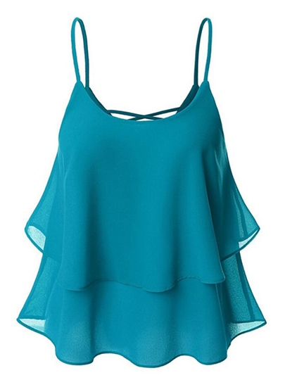 Plain Backless Loose Chiffon Women's Tank Top