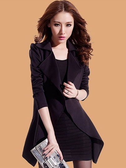 Long Sleeve Notch Lapel Slim Women's Trench Coat