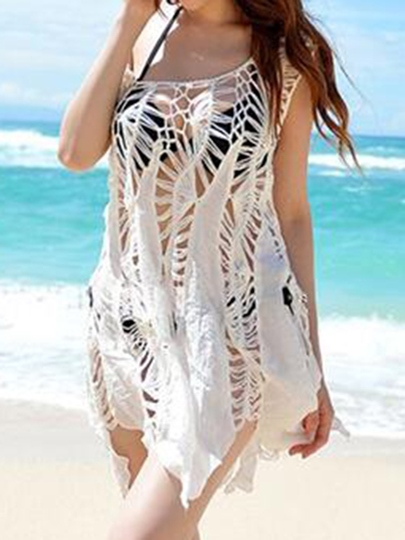 White Loose Hollow Cover-Up