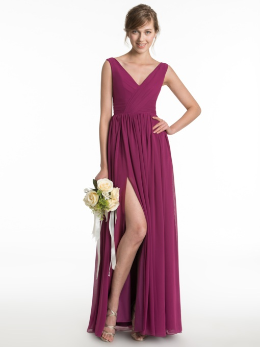 V-Neck Straps Split-Front Cheap Bridesmaid Dress