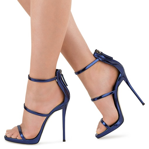 Peep Toe Zipper Back Plain Stiletto Heel Women's Sandals