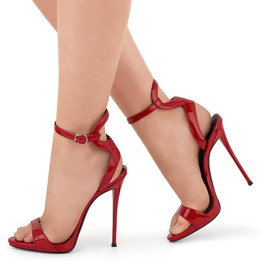 Open Toe Buckle Ankle Strap Plain Stiletto Heel Women's Sandals