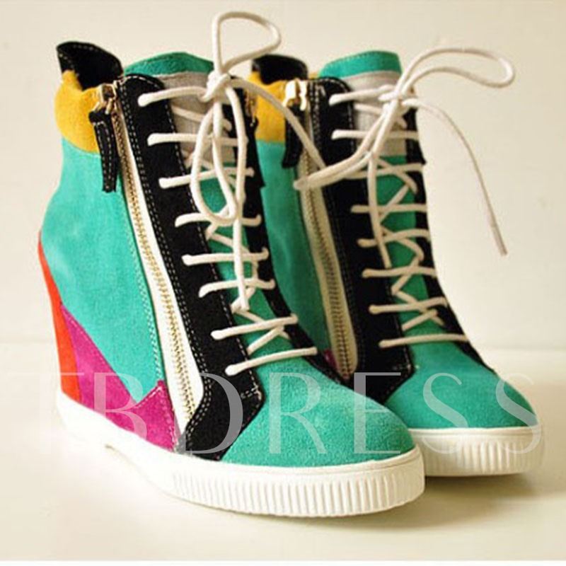 Side Zipper Color Block Wedge High Heel Women's Sneakers