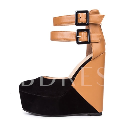 Color Block Straps Wedge Heel Women's Sandals
