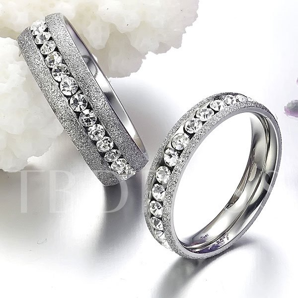 Silver Dull Polish Rhinestone Lover's Rings(Price For A Pair)