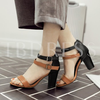 Open Toe Zipper Chunky Heel Women's Sandals