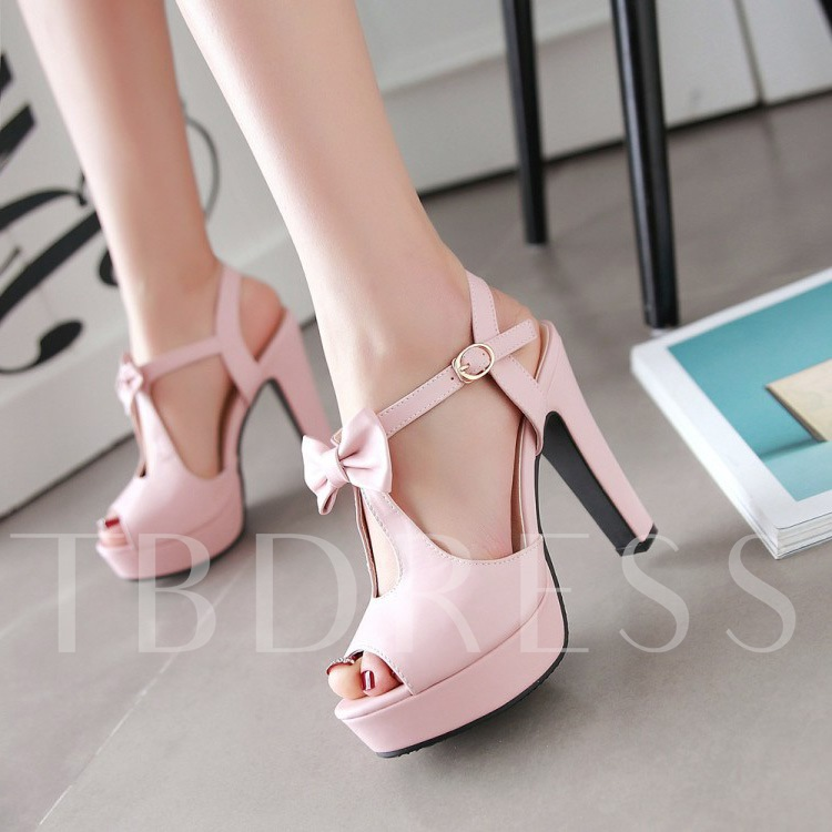 Chunky Heel T-Shaped Buckle Ankle Strap Women's Sandals