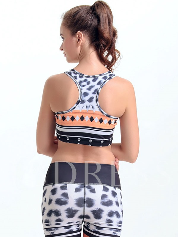 Square Printed Y-Back Women Sports Bra