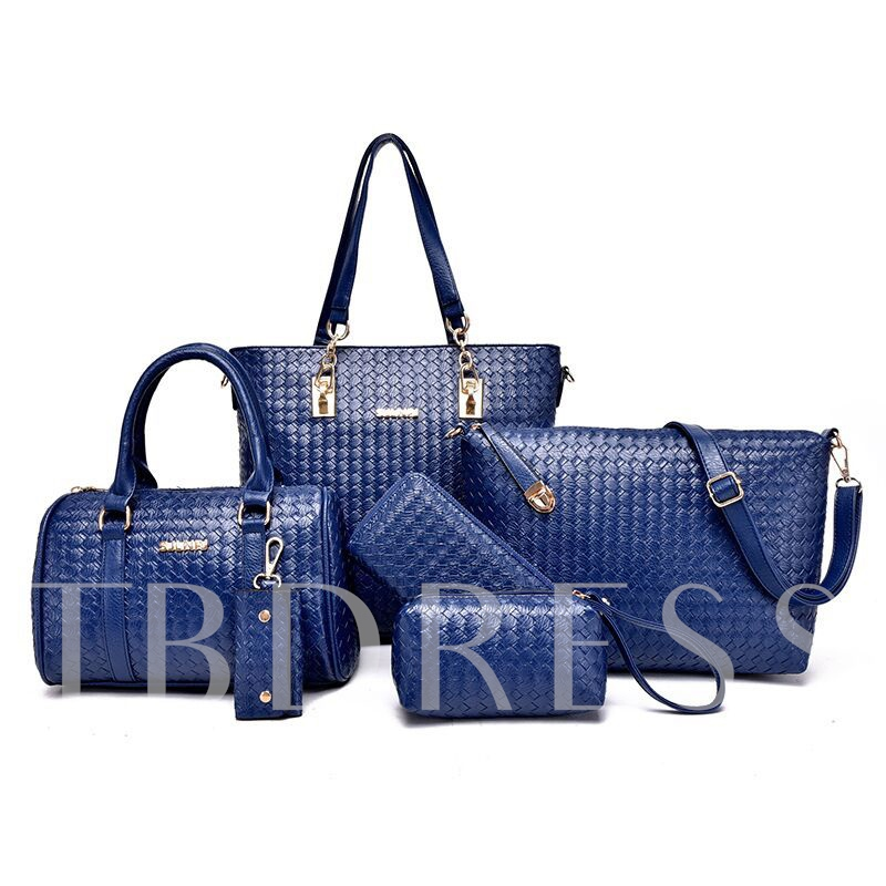Fashion Knitted Style Pure Color Women's 6 Piece of Bag Set