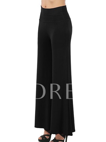 High Waisted Pleated Solid Color Women's Pants