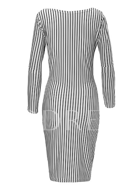 Striped Lace up Women's Pencil Dress
