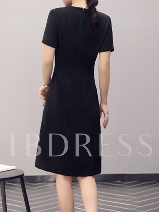 Color Block Pleated A-Line Asymmetrical Women's Day Dress
