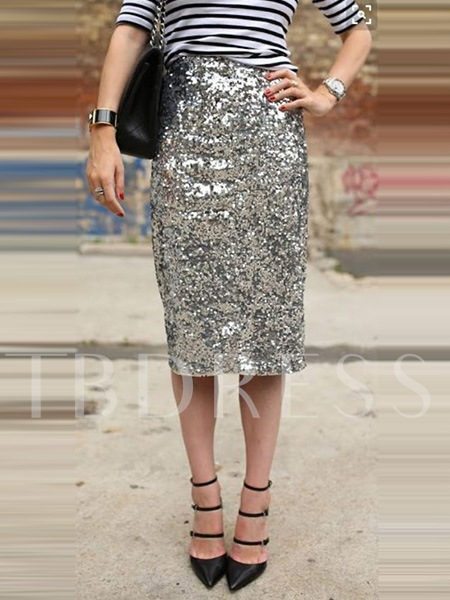 Knee Length Sequin Sheath Women's Skirt