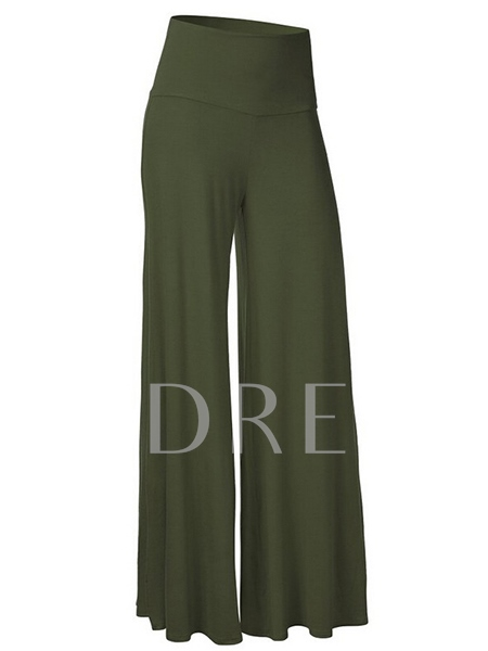 Wide Leg Solid Color High Waist Women's Pants